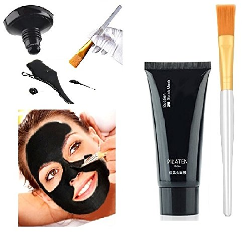 Black Mask Charcoal Peel Off Blackhead Remover Pilaten Suction Black Mud Mask Face Skin Nose Cleaner Oil Control Purifying Deep Cleansing Mask Facial Brush Applicator Kit