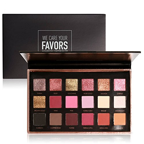 Focallure Beauty 18 Colors Metallic Rose Gold Eyeshadow Palette Dual use for Face and Eyes (01)