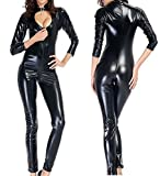 Sorrica Women's Sexy Catsuit with Front Opening Corset Faux Leather Catsuit (L, Black)