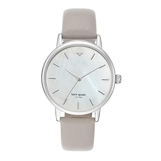 kate spade new york Women's Metro Stainless Steel Analog-Quartz Watch with Leather Calfskin Strap, Grey, 16 (Model: KSW1141) best minimalist watches for women