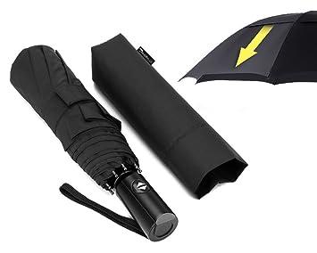 lanbrella compacto viajes paraguas con doble toldo resistente al viento auto abrir Cerrar – negro