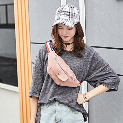 Taille Couleur à Sac Sac Sac Zippée Mode Téléphone Rawdah Poitrine Femmes Poches Solide Bandoulière de Rose qUxCpwRz