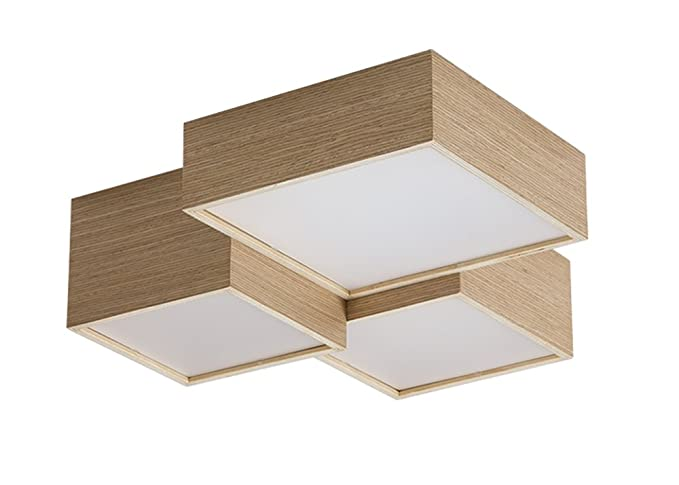 Plafoniere Con Base In Legno : Ole by fm kube p n plafoniera in legno scuro di tre moduli