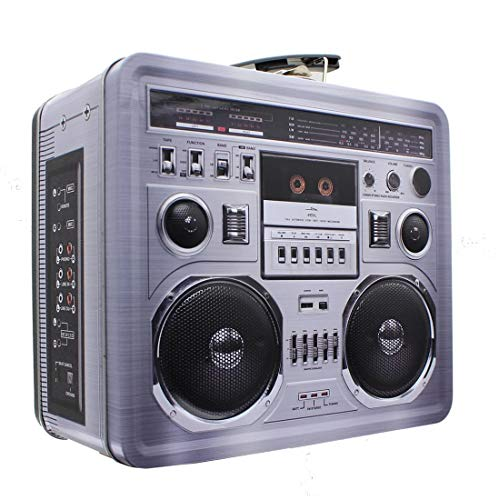Retro Boombox Radio Lunchbox Tin Tote - 1980s Inspired Merchandise - Novelty Costume Accessories and Storage Container - Fun Unique Gifts for Halloween, Birthdays, Holidays, Graduation for $<!--$14.99-->