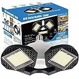 LED Garage Lights, 60W LED Garage Ceiling Lights 7500LM Garage Lighting,LED Shop Light, Deformable LED Shop Lights for Garage, Warehouse, Corridor, Support E26 Screw Socket (No Motion Detection) 1pk