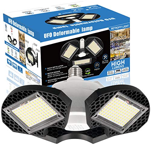 LED Garage Lights, 60W LED Garage Ceiling Lights 7500LM Garage Lighting,LED Shop Light, Deformable LED Shop Lights for Garage, Warehouse, Corridor, Support E26 Screw Socket (No Motion Detection) 1pk