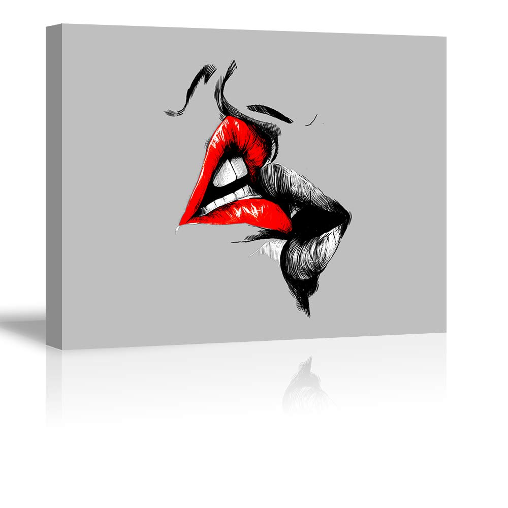 Tku's Abstract Sketch Red Lips Canvas Wall Decor Art Lover Kiss Painting Black White and Gray Picture Romantic Home Decoration for Bedroom (Ready to Hang)