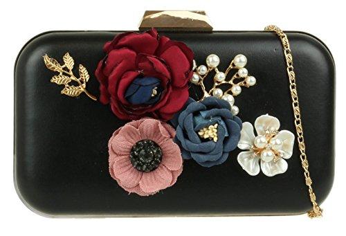 Negro Mano Girly Material Mujer Sintético De Handbags Para Cartera r8qwTtU8
