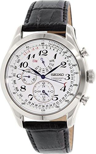 Seiko Men's SPC131P1 Neo Classic Alarm Perpetual Chronograph White Dial Black Leather Strap ()