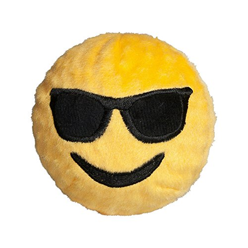 Image of fabdog Playin' It Cool Emoji faball Squeaky Dog Toy (Small)