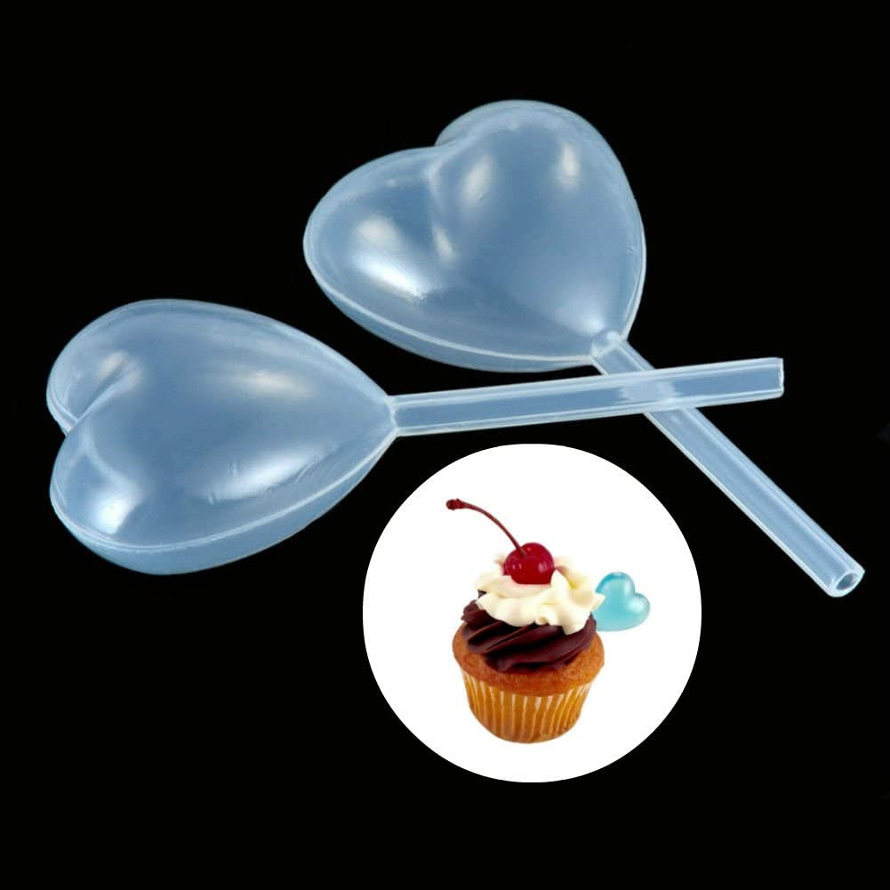 AKOAK 50 Pieces 4ml Disposable Clear Heart Shape Plastic Pipettes Liquid Dropper Pipette Liquid Injector for Jam,Cupcakes,Chocolate,Strawberries,Ice Cream