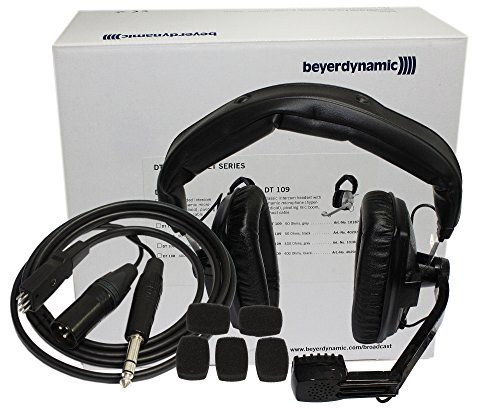 Beyerdynamic DT-109-200-50-BLACK Closed Headset with Dynamic Hypercardioid Microphone, 50 Ohms, Black and K109.40-1,5 Connecting Cable (5 Foot)