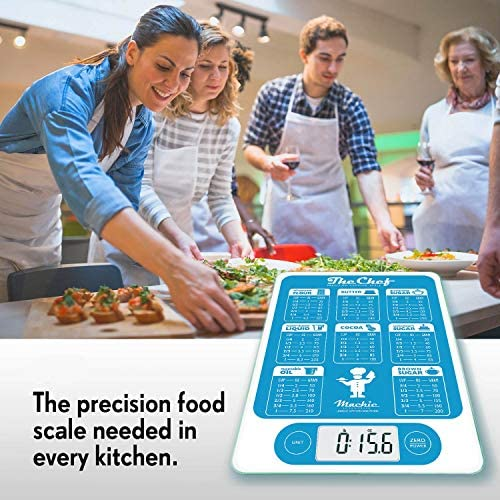 Mackie The Chef Food Scale Digital Kitchen Scale Weight Grams and Oz Easy Fast Simple Precision For Cooking Baking Meal Prep, Baking Conversion Table 4
