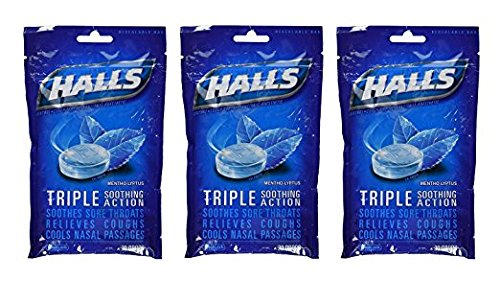 Halls Drops, Menthol-Lyptus, 30-Count Drops (Pack of 3) Halls Mentho Lyptus Cough Suppressant
