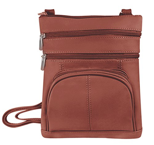 Vivoi Multi-Pocket Genuine Leather Crossbody Bag(Light Brown)