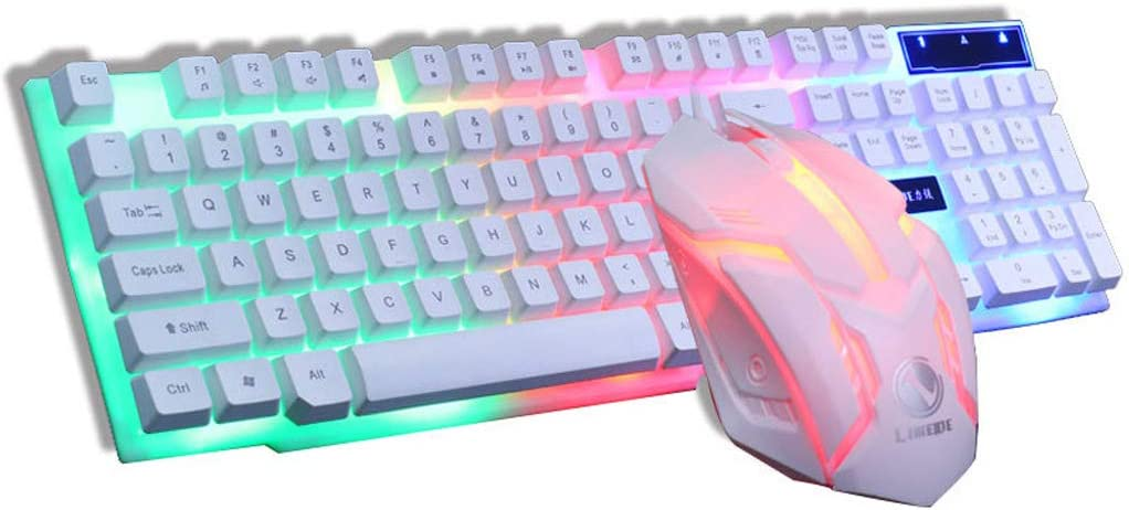Color : A Wired Lighting Mouse Set USB and Mouse Rainbow Pause Backlight Mouse Keyboards