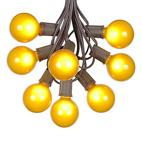 G50 Patio String Lights with 25 Yellow Globe Bulbs - Outdoor String Lights - Market Bistro Café Hanging String Lights - Patio Garden Umbrella Globe Lights - Brown Wire - 25 Feet