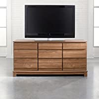 Sauder Soft Modern Entertainment Credenza, Fine Walnut