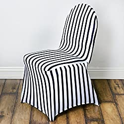 BalsaCircle 10 pcs Black White Stripes Spandex Strechable Banquet Chair Covers Slipcovers Wedding Reception Decorations