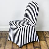 BalsaCircle 10 pcs Black and White Stripes Spandex Strechable Banquet Chair Covers Slipcovers for Wedding Reception Decorations