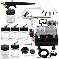 OPHIR Pro Dual Action Airbrush Air Tank Compressor Cleaning Tools Kit for T-shirt Painting Tanning Hobby