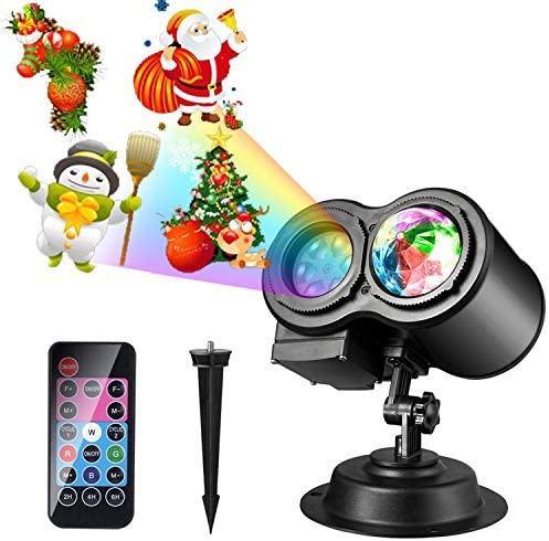 Christmas LED Projector Lights, LUXONIC 16 Slides Waterproof Outdoor Water Wave Rotating Gobos Double Projection Light with Remote Control for Christmas Birthday Party Holiday