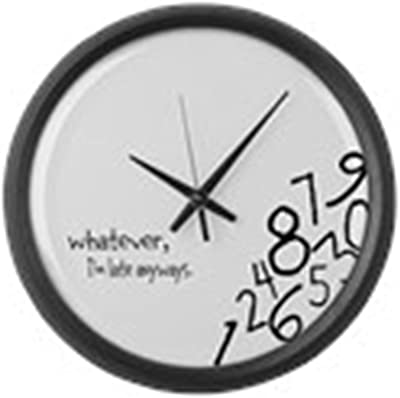 """CafePress - Whatever, I'm Late Anyways Wall Clock - Large 17"""" Round Wall Clock, Unique Decorative Clock"""
