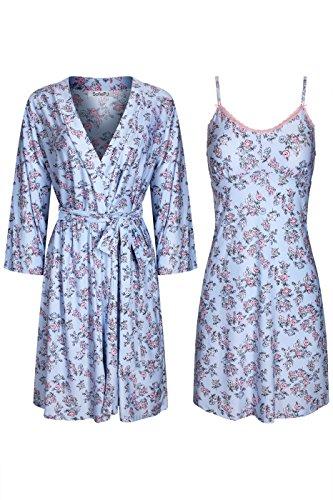 SofiePJ Women's Printed Sleepwear Chemise and Robe 2PC Set Blue Pink M -