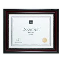 Kiera Grace Lucy Document Frame, 8.5 by 11 Inch, Dark Brown with Gold Beading