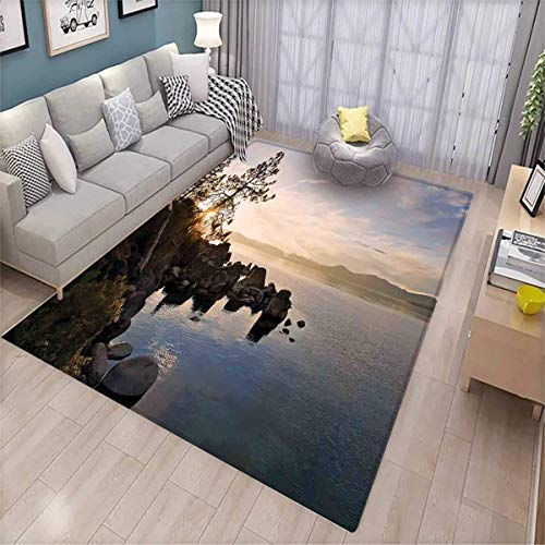 s Rooms Nursery Decor Mats Lake Tahoe at Sunset with Clear Sky and Single Pine Tree Rest Peaceful Weekend Photo Door Mat Indoors Blue Grey ()
