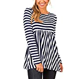 Bafaretk Womens Casual Sriped Print O Neck Tops Long Sleeve Shirt Tunic Loose Blouse (XL, Navy)