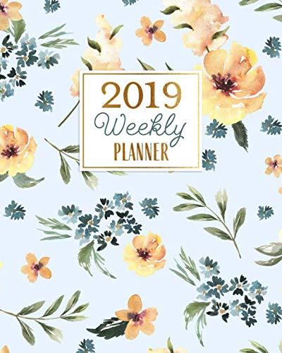 2019 Weekly Planner: Dusty Blue Watercolor Wildflowers Agenda Book Organizer