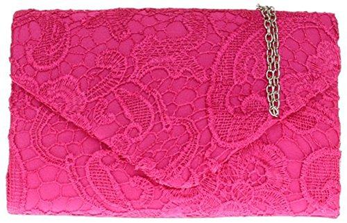 Elegant Ladies Lace Wedding Clutch H Satin Evening Gold Fuchsia amp;G Womens Shoulder Bag Chain qUwR84x