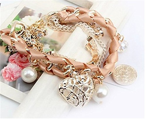 P.phoebus Pink Beads Pearl Vintage Crystal Rhinestone Bracelet Swarovski Gold Charms Sterling Silver Bangle For Women Girls (pink)