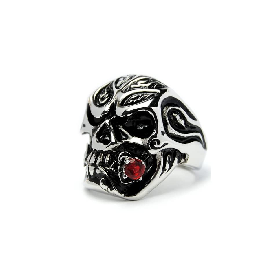 Ed Hardy Tiger Mens Stainless Steel Ring with Red Cubic Zirconia Size 10