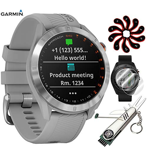 Garmin Approach S40 Golf Watch(010-02140-00)(Stainless Steel/Power Gray Band) with Stainless Steel Golf Tool, Golf Club Iron Head Cover Set, 2 Pack Screen Protector, Extended Warranty