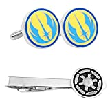 Outlander Jedi Cufflink & Imperial Tiebar - New 2018 Star Wars Movies - Set of 2 Wedding Logo w/Gift Box