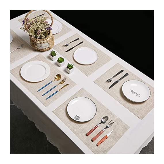DOLOPL Placemat Placemats Waterproof Beige Placemats Set of 6 Crossweave Woven Vinyl Laminated Table Mat Easy to Clean Heat Resistant Wipeable Spring Placemats for Dining Table - ►Enviromental Meterial:The placemat is FDA approved eco-friendly kitchen accessories,these table placemats are made of high quality PVC and jelly, it's durable and waterproof better, non-fading. [Due to the influence of the waterproof film for the table mats, it's normal for the beige placemats to have an odor. Please place it for one day(it's better) after receiving the wipeable placemats.] ►100%Waterproof and Easy to Clean:the placemats' back of jelly, the kitchen table placemats are waterproof, also these stain proof placemats are easy to clean, just using the wet cloth or towel to wipe off when the table mats have some liquids, or go head to wash the Christmas placemats with soft brush after you finished a BBQ or meal time. ►Heat Resistant Placemats:these set of 6 placemats are heat insulation, resistant to combustion, acid-base, wear-resistant and has good warmth and elasticity. Please make sure your plates are ≤212℉(100℃),it's awsome to protect your wood, glass or other material table. - placemats, kitchen-dining-room-table-linens, kitchen-dining-room - 51JCM0ih5uL. SS570  -