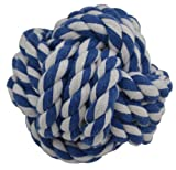 Amazing Pet Products Rope Dog Toy, 3.75-Inch Rope Ball, Blue