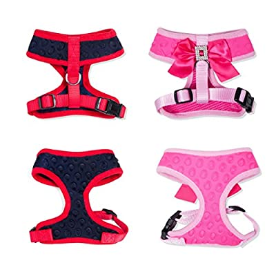 Dog Harness - Pink or Blue Cute Adjustable Dog Leash, Fits Small, Medium and Large Dogs. No Pull & No Choke Soft Padded Dog Harness