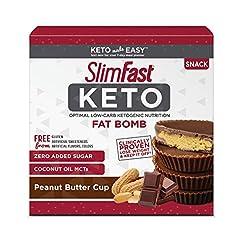SlimFast Keto Fat Bomb Snacks, Peanut Bu...