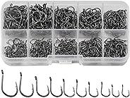 Doryum Fish Hooks, 600 PCS Fishing Hooks in 10 Sizes, Circle Hooks Fishing, Barbed Hooks Fishing, Eyed Fishing