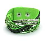 women's charm Distortion bracelets rhinestone Leather snake Chain bracelets (Green)