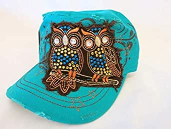 Turquoise Cap For Ladies With Two Owls
