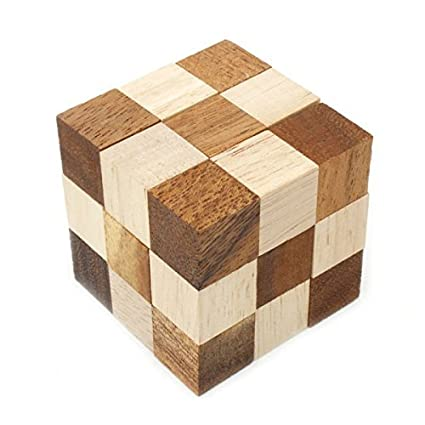 Amazon Com Snake Cube Puzzle L Wooden Brain Teaser Puzzles Game