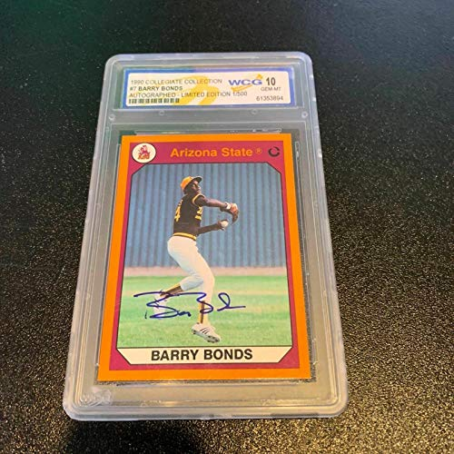 Barry Bonds 1990 Collegiate Collection Signed Rookie Card Wcg 10 Gem-mt Le 1/500 - Baseball Slabbed Autographed Rookie Cards