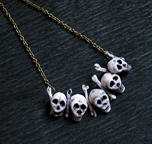 Gothic necklace with skull skeleton bone gothic Halloween jewelry Cosplay costume Goth Witch Shaman Voodoo Occult Wiccan gift heavy metal Handmade
