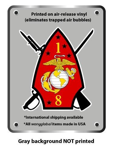 "1st Battalion 8th marines vinyl sticker decal 5"" x 4.4"""