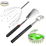 4 in 1 Life Need Tool - Head Massager, Extended Shoe Horns, Back Scratchers, Shampoo Hair Brush for Family Seniors Men Birthday Personalized Fathers Day Christmas Gift for Dad Mom Grandpa