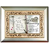 Happy 25th Anniversary And They Lived Happily Ever After Champagne Silver Jewelry Music Box - Plays Song You Light Up My Life